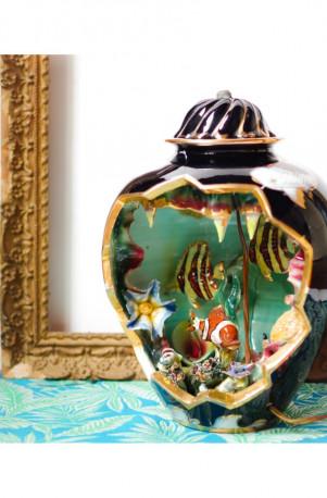 Lampe veilleuse céramique Kerina Monaco vintage 70s