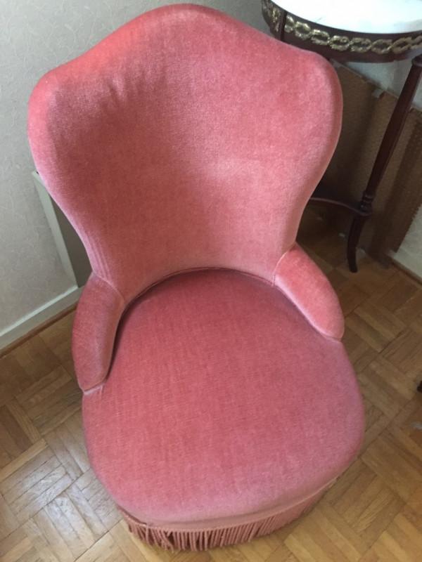 fauteuil boudoir vieux rose vintage les vieilles choses. Black Bedroom Furniture Sets. Home Design Ideas