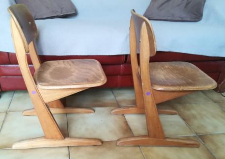 """Chaise d'écolier à patins """"Casala"""" vintage années 50"""