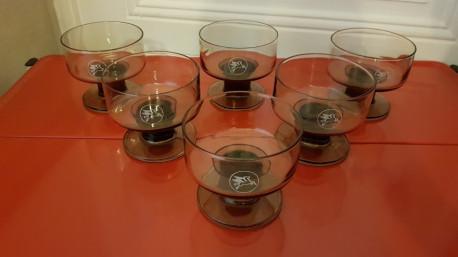 Coupes à champagne en verre fumé MOBIL vintage