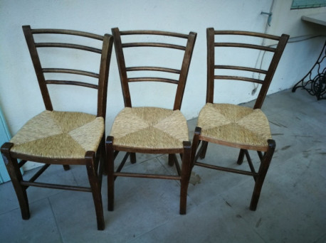 Chaises paillées vintage