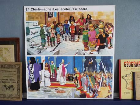 Affiche scolaire vintage : Charlemagne