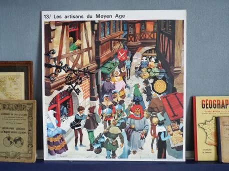 Affiche scolaire vintage : Le Moyen Age