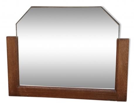 Miroir biseauté vintage des années 50 cadre bois - vintage