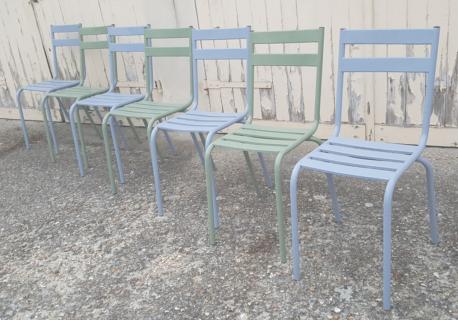 Lot de 7 chaises de métier bistrot anciennes tivoli de Fransisco Segarra, en métal, vintage, années 40 / 50