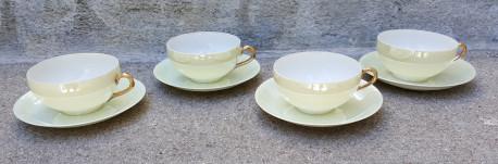 Service de 4 jolies tasses et soucoupes en porcelaine fine japonaise