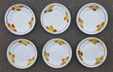 Lot de 6 petites assiettes vintage, en porcelaine, Moulin des Loups, Orchies, années 20