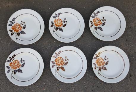 Lot de 6 assiettes plates vintage, en porcelaine de Saint Amand, France, CIRCA 1932