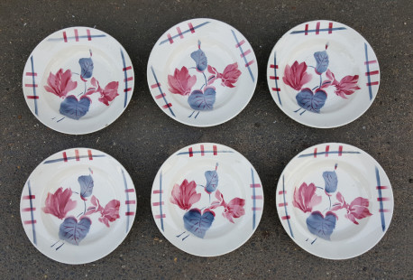 Lot de 6 assiettes creuses vintage, en faIence de Longchamps, Côte d'Or, France