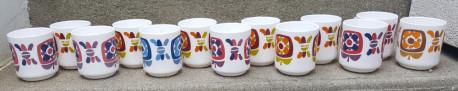 13 mugs Mobil, publicitaire, années 70.
