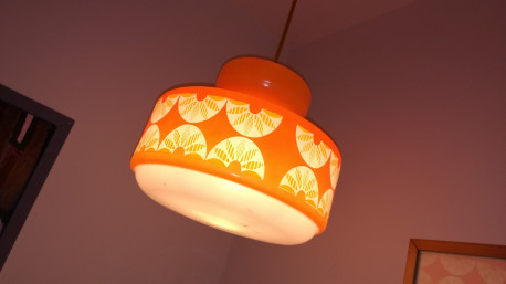Suspension grand format orange et blanche vintage
