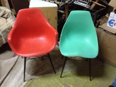 ensemble chaise et fauteuil coquille 1960 vintage